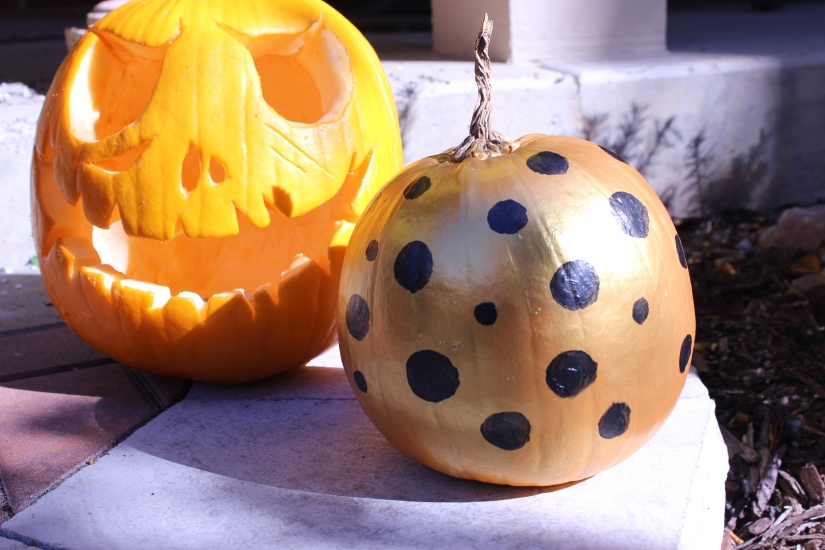 DIY Painted Polka Dot Pumpkin
